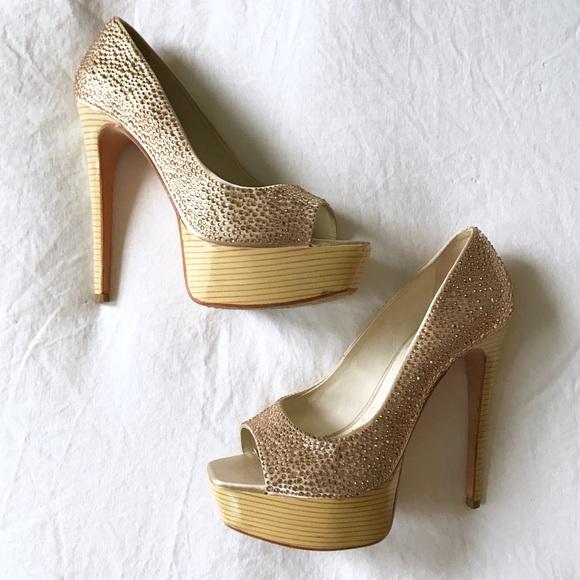 Alice + Olivia Shoes - Alice & Olivia Laird Swarovski Platform Peep Toes
